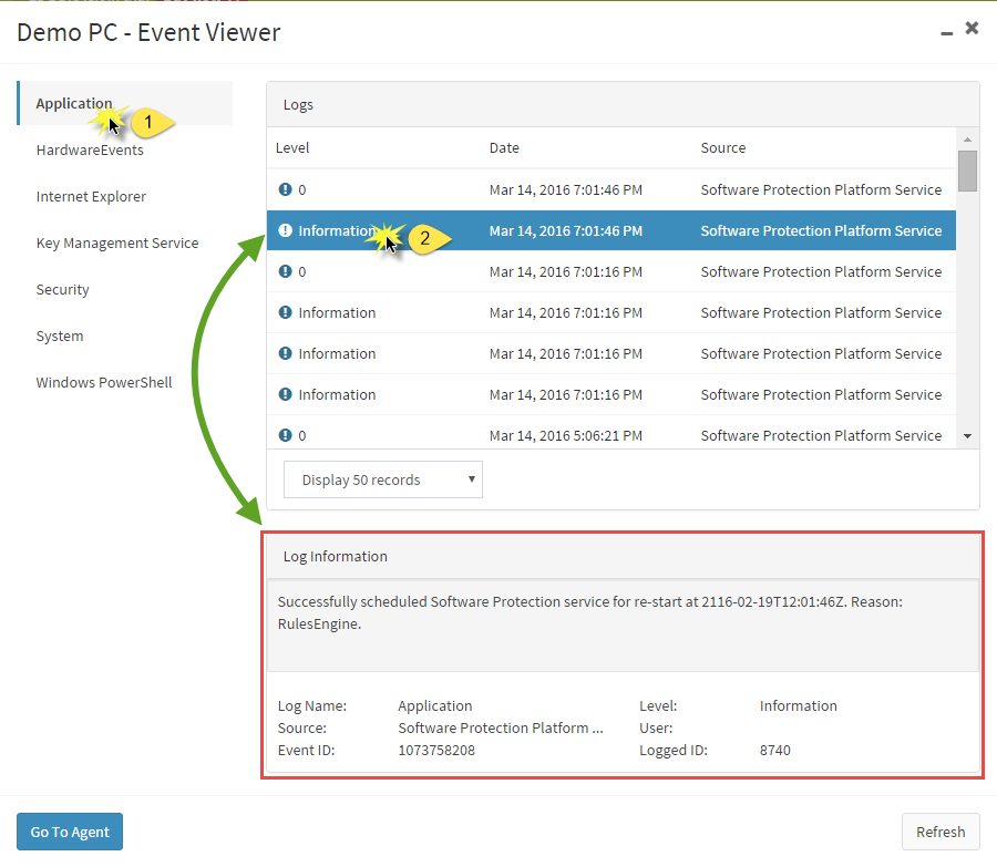 click on a log container in the left section to view logs in that category in the example here application is selected